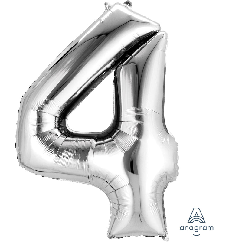 "34"" Silver - Number 4 - Foil Balloon (HELIUM FILLED)"