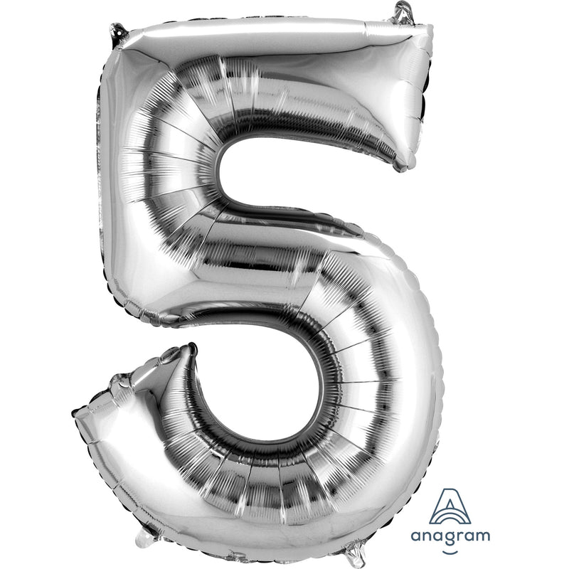 "34"" Silver - Number 5 - Foil Balloon (HELIUM FILLED)"