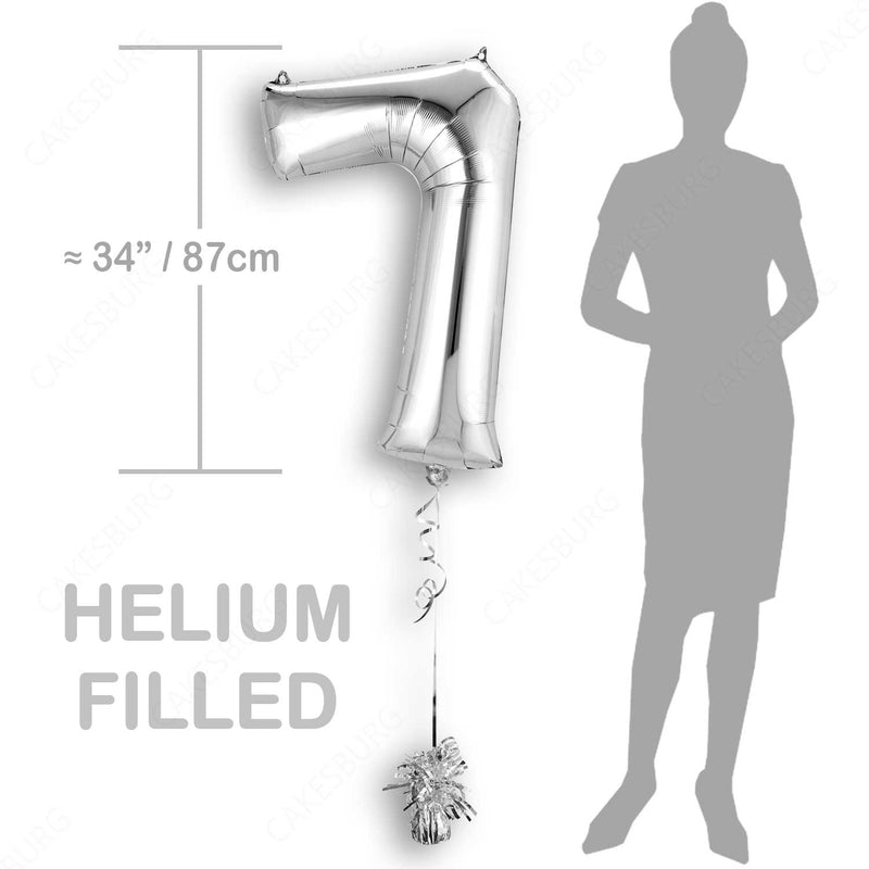 "34"" Silver - Number 7 - Foil Balloon (HELIUM FILLED)"
