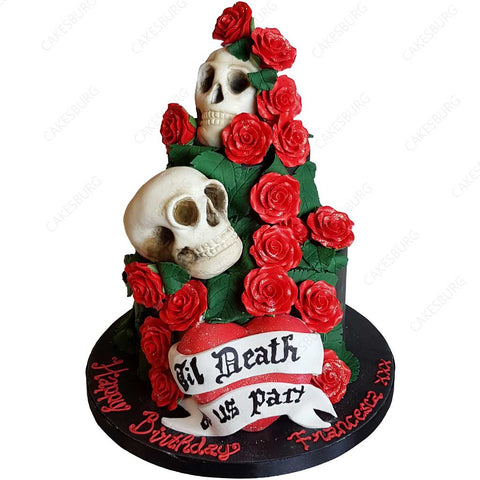 Skulls & Roses Birthday / Wedding Cake