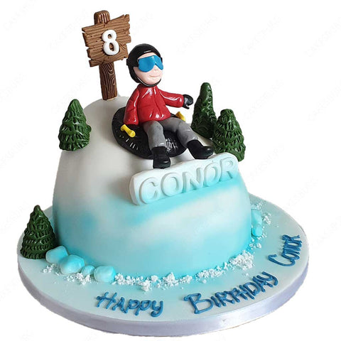 Snow Tube Skiing Cake