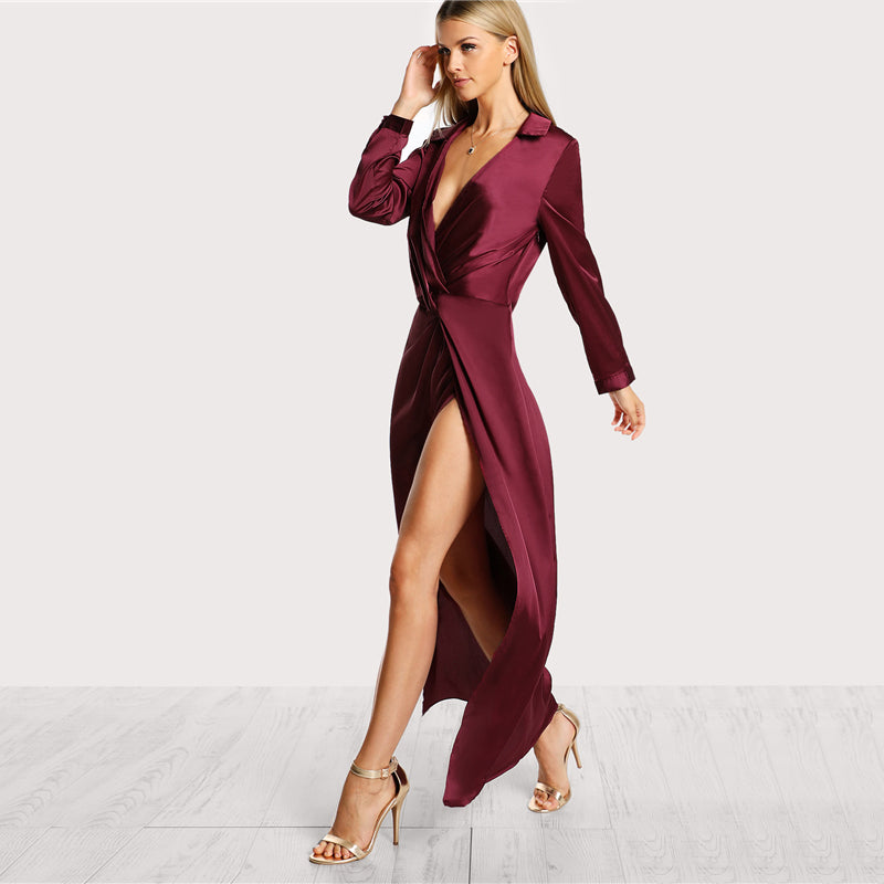 Satin Maxi Shirt Dress