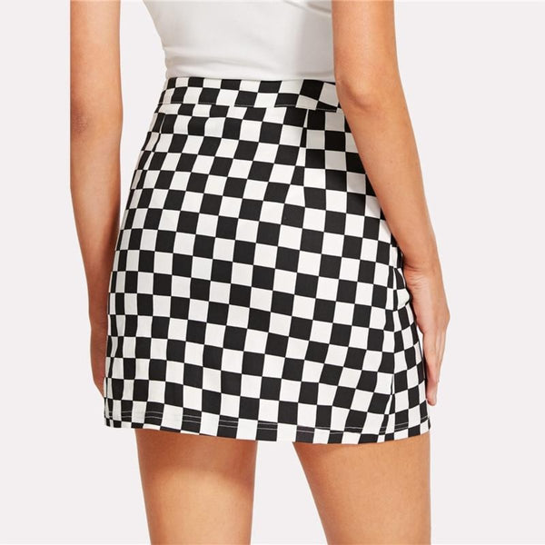 Black and White Elegant Mini Skirt