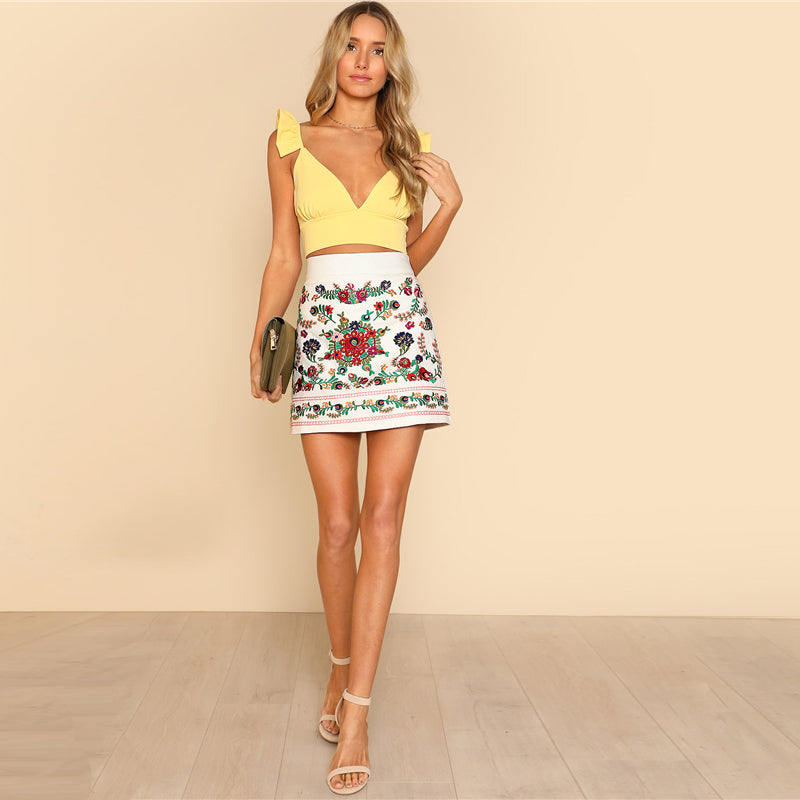 Embroidered Floral tSkirt