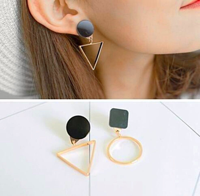 Triangle  Geometric Black Earrings