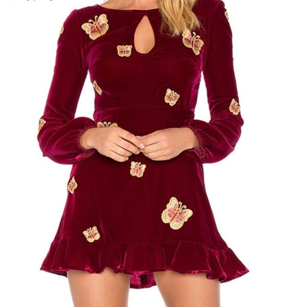 Velvet Long Lantern Sleeve Floral Mini Dress