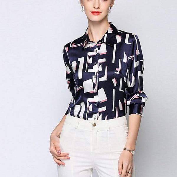 Office Lady Elegant Shirt 100% Silk