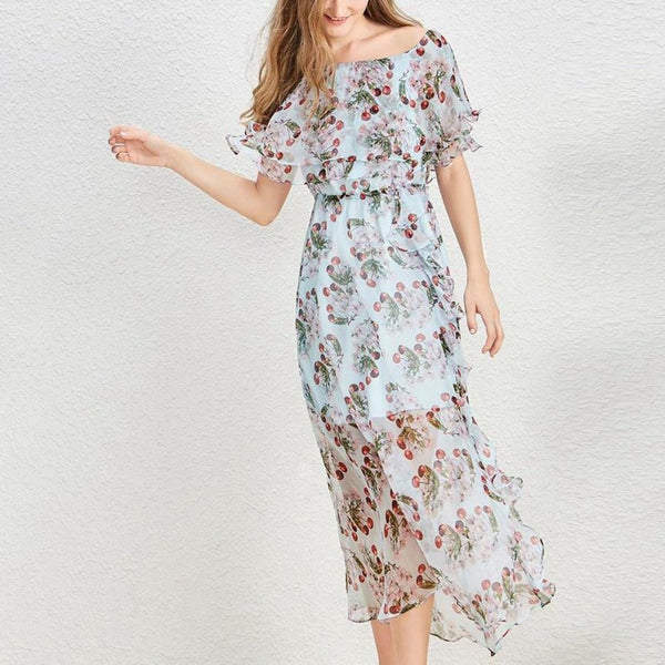 Slash Neck Ruffles Long Dress