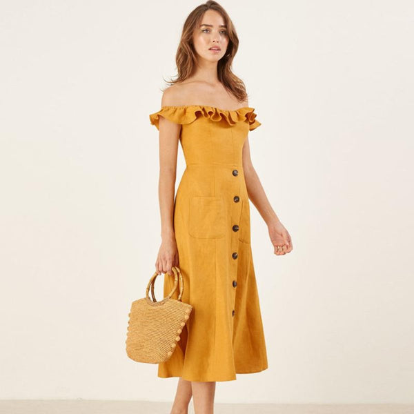Yellow Ruffles  Off Shoulder Summer Dress