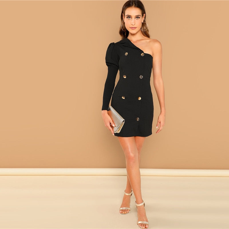 One Shoulder Puff Sleeve Dress