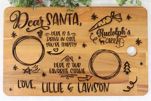 Personalized wood Santa tray cutting board - Sew Lucky Embroidery