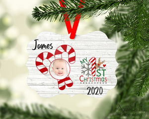 1st Christmas Photo Ornament Personalized - Sew Lucky Embroidery