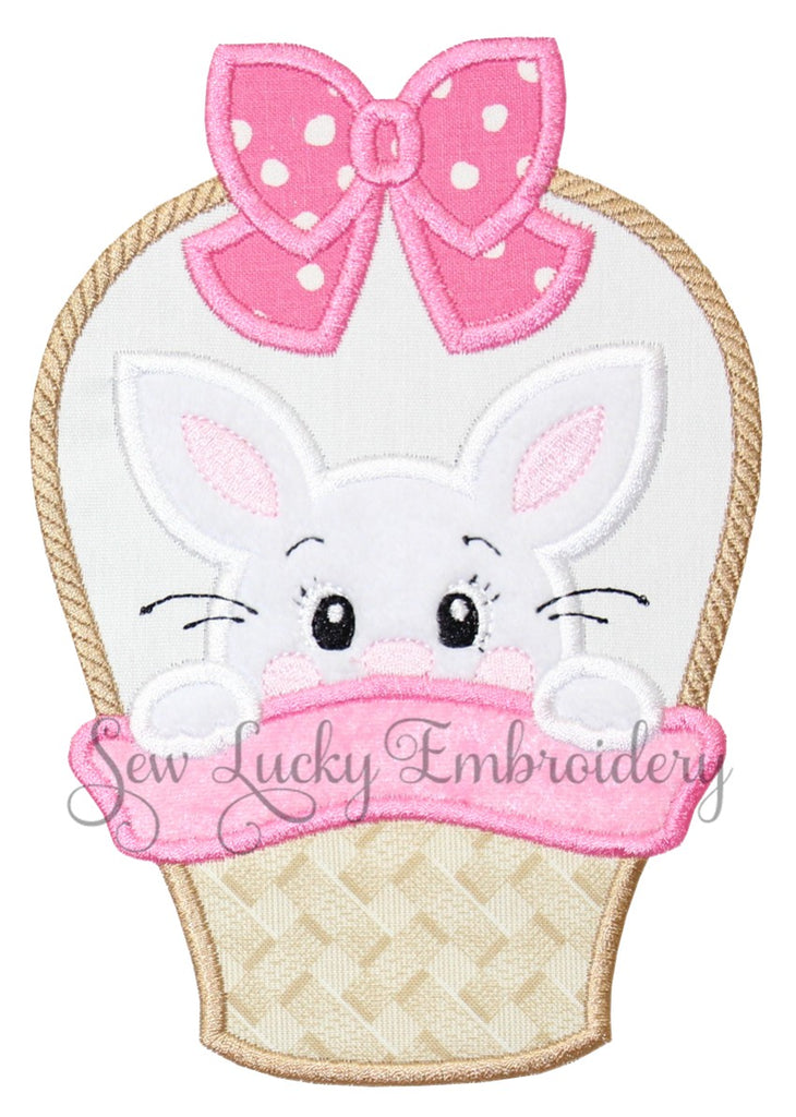 Girl Easter Bunny in Basket Patch