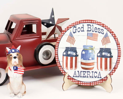 God Bless America Jars Tier Tray Sign and Stand