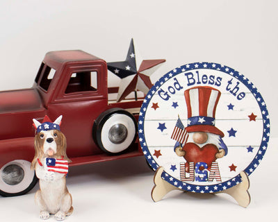 God Bless America Gnome Tier Tray Sign and Stand