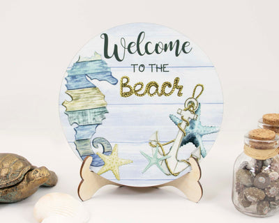 Seahorse Welcome to the Beach Tier Tray Sign and Stand
