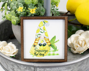 Squeeze the Day Gnome Lemon Tier Tray Sign