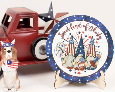 Sweet Land of Liberty Gnomes Tier Tray Sign and Stand