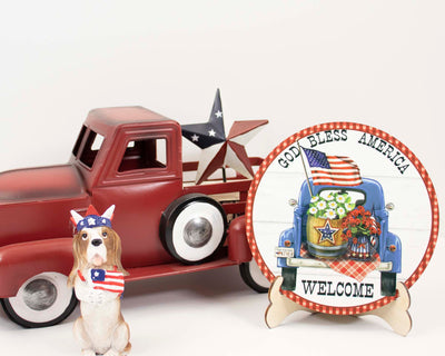 God Bless America Truck Tier Tray Sign and Stand
