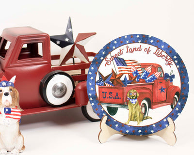 Sweet Land of Liberty Truck Tier Tray Sign and Stand