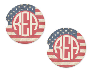 American Flag Monogram Sandstone Car Coasters - Sew Lucky Embroidery