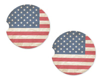American Flag Sandstone Car Coasters - Sew Lucky Embroidery