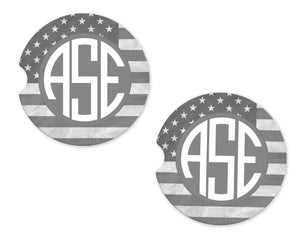 American Gray Flag Monogram Sandstone Car Coasters - Sew Lucky Embroidery