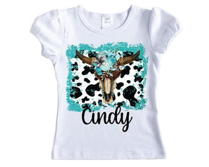 Aqua Cow Skull Personalized Girls Shirt - Sew Lucky Embroidery