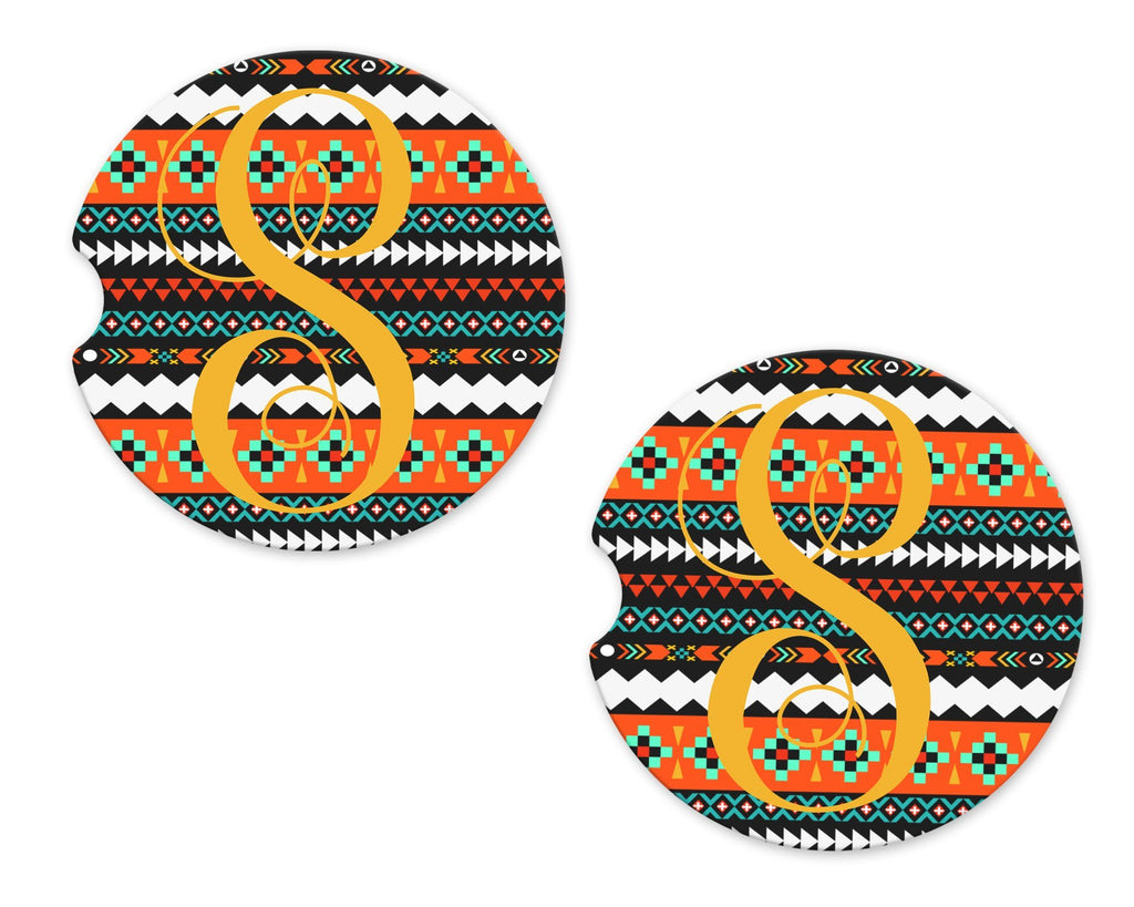 Aztec Personalized Sandstone Car Coasters - Sew Lucky Embroidery