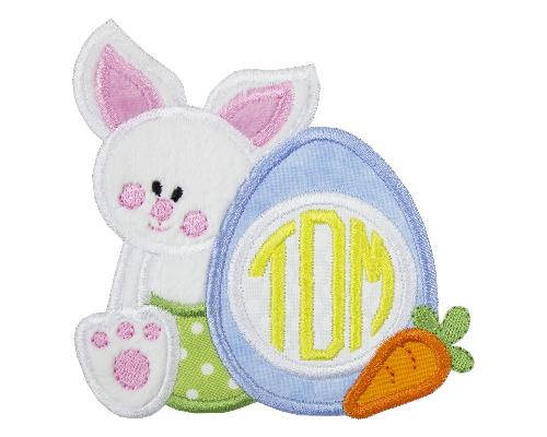 Baby Boy Easter Bunny with Monogrammed Egg Patch - Sew Lucky Embroidery