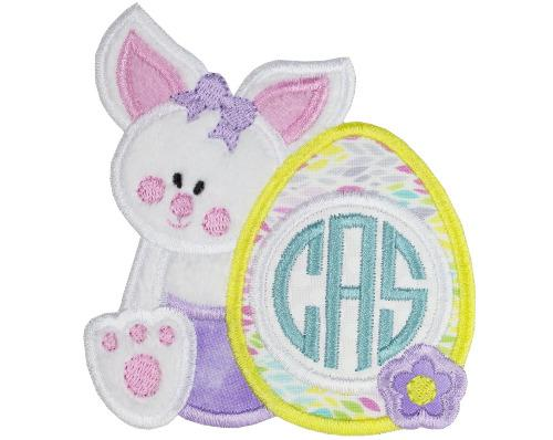 Baby Girl Easter Bunny with Monogrammed Egg Patch - Sew Lucky Embroidery