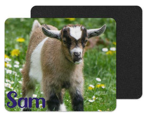 Baby Goat Custom Personalized Mouse Pad - Sew Lucky Embroidery