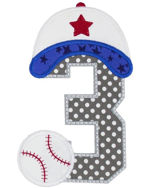 Baseball Birthday Number Patch - Sew Lucky Embroidery