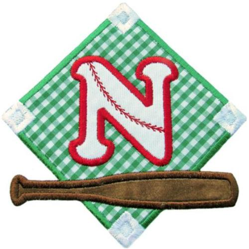 Baseball Field Letter Patch - Sew Lucky Embroidery
