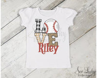 Baseball Love Girls Personalized Shirt - Sew Lucky Embroidery