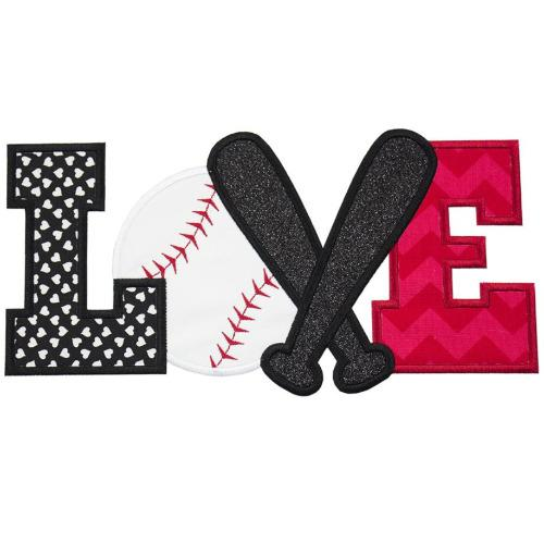 Baseball LOVE Patch - Sew Lucky Embroidery
