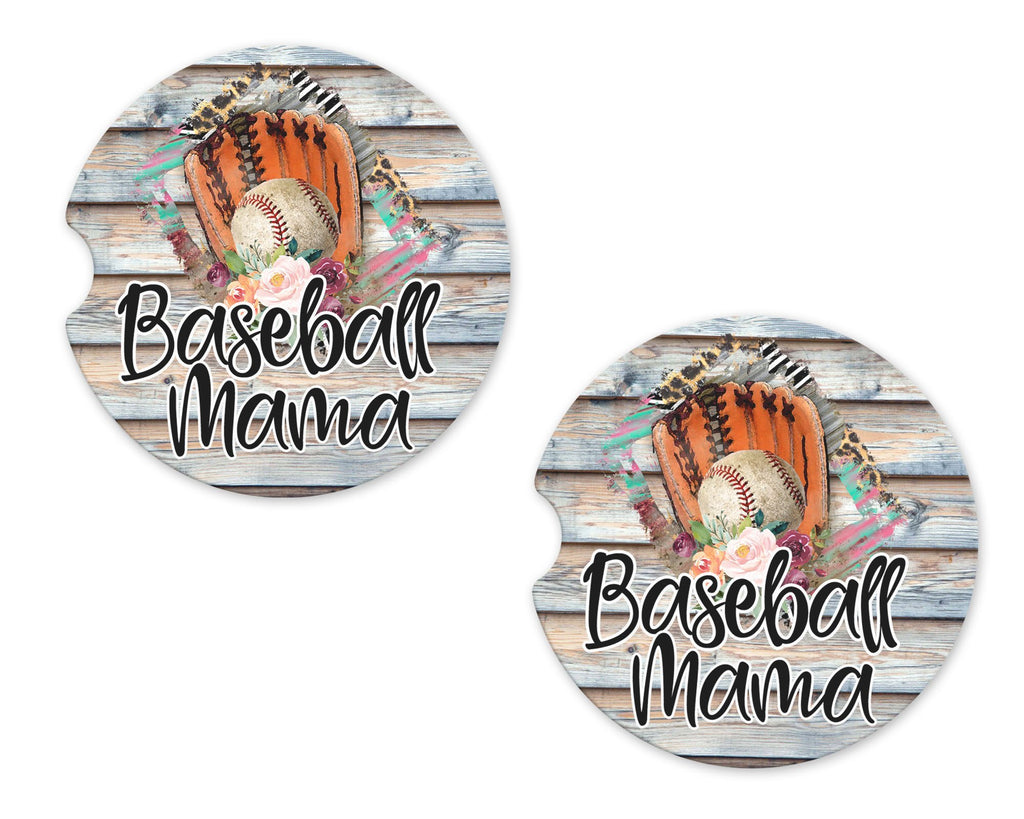 Baseball Mama Floral Sandstone Car Coasters - Sew Lucky Embroidery
