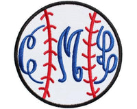 Baseball Monogrammed Patch - Sew Lucky Embroidery