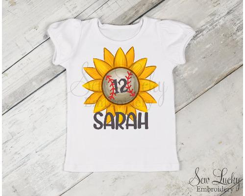 Baseball Sunflower Girls Personalized Printed Shirt