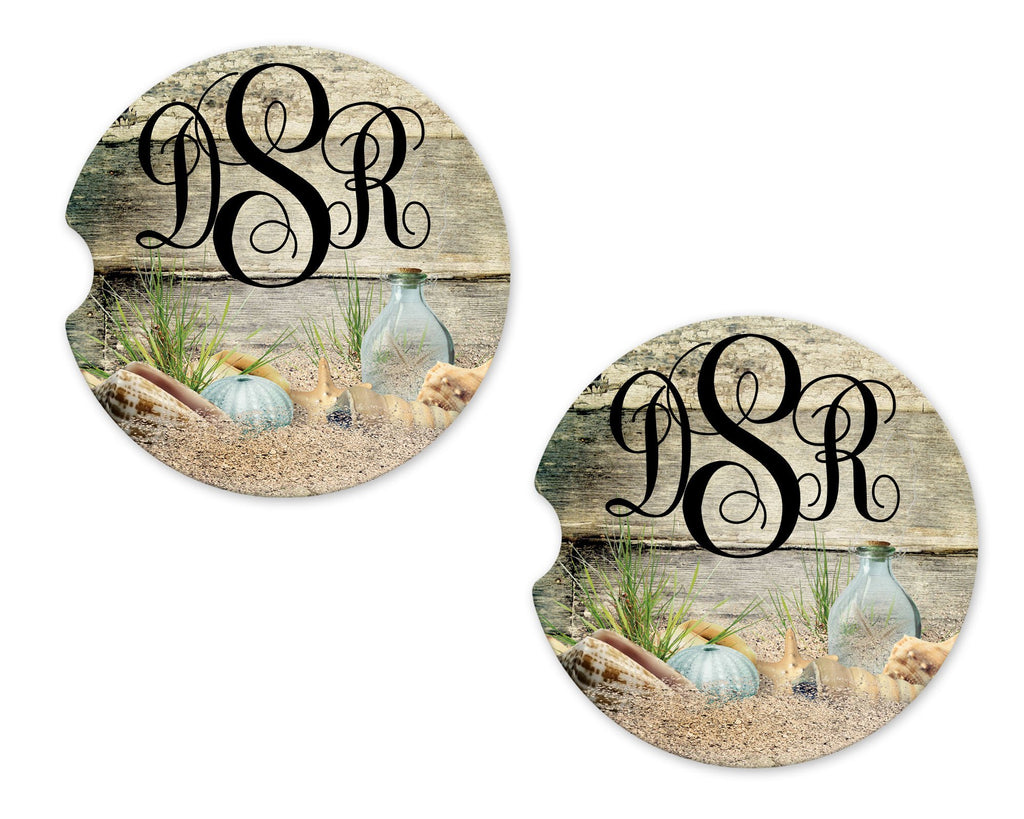 Beach Finds Personalized Stone Car Coasters