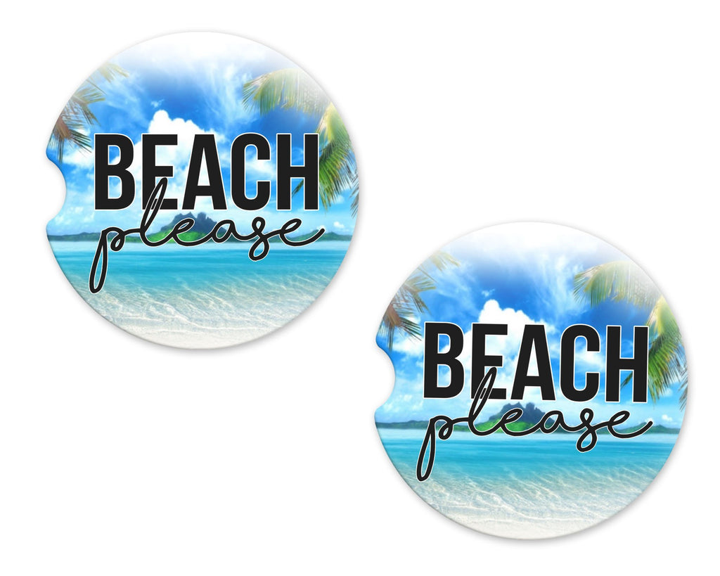 Beach Please Sandstone Car Coasters