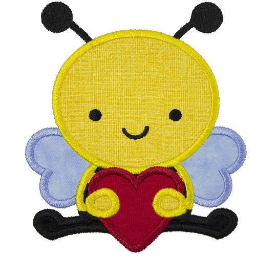 Bee with Valentine Heart Patch