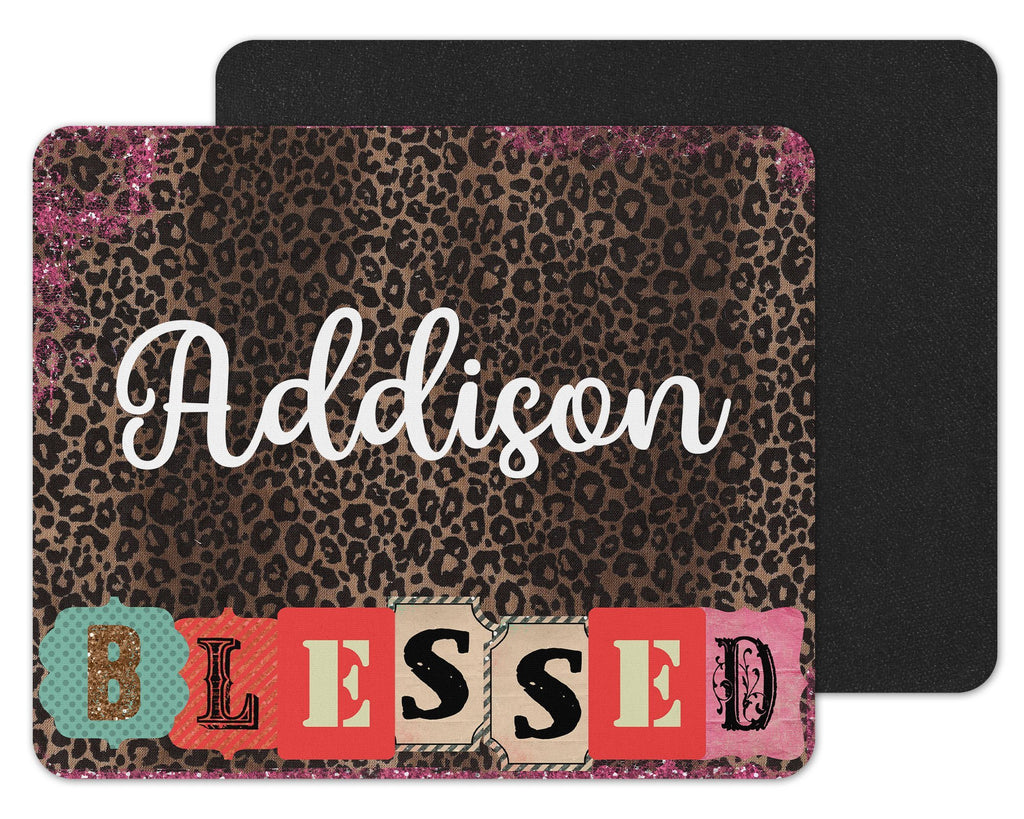 Blessed on Leopard Print Custom Personalized Mouse Pad