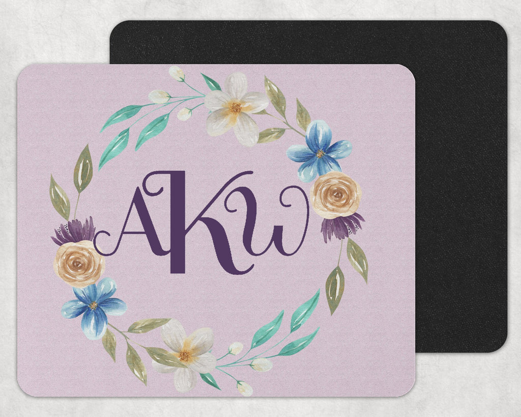 Blue and Gold Floral Wreath Custom Monogram Mouse Pad