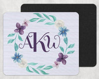 Blue and Purple floral Wreath Custom Personalized Monogrammed Mouse Pad