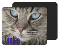 Blue Cat Eyes Custom Personalized Mouse Pad