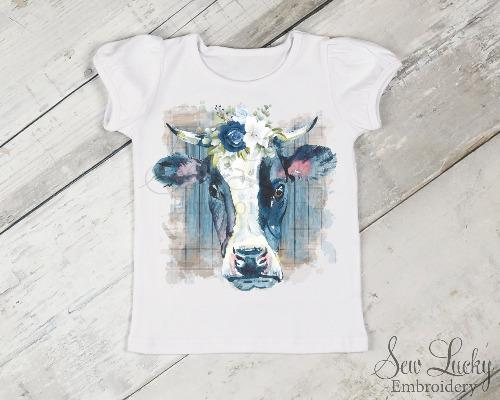 Blue Cow Girl's Printed Shirt