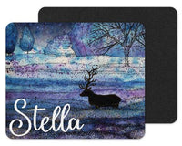 Blue Night Deer Custom Personalized Mouse Pad
