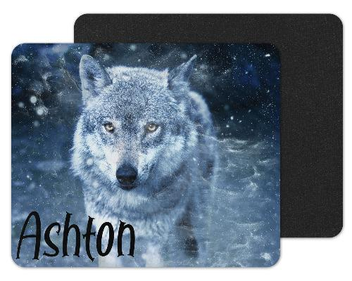 Blue Wolf Custom Personalized Mouse Pad