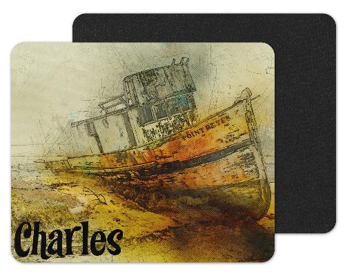 Boat Drawing Custom Personalized Mouse Pad